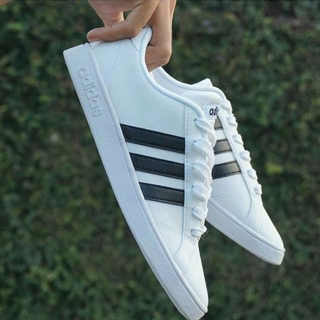... new style adidas neo baseline white black strip mens fashion mens  footwear on carousell a575b f4944 af22fbb3a7
