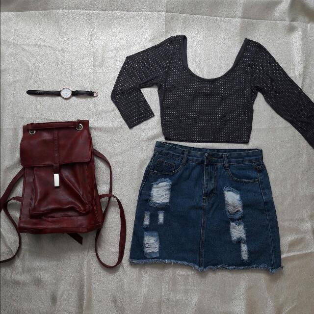 🌻REPRICED🌻 Beaded Grey Crop Top