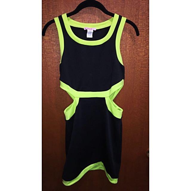 Black & Luminous Green Dress