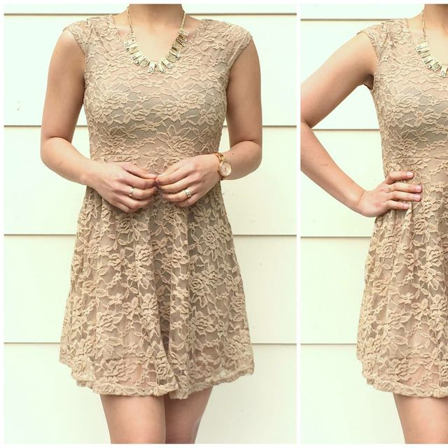 Brown Lacey Short Dress/Long Top