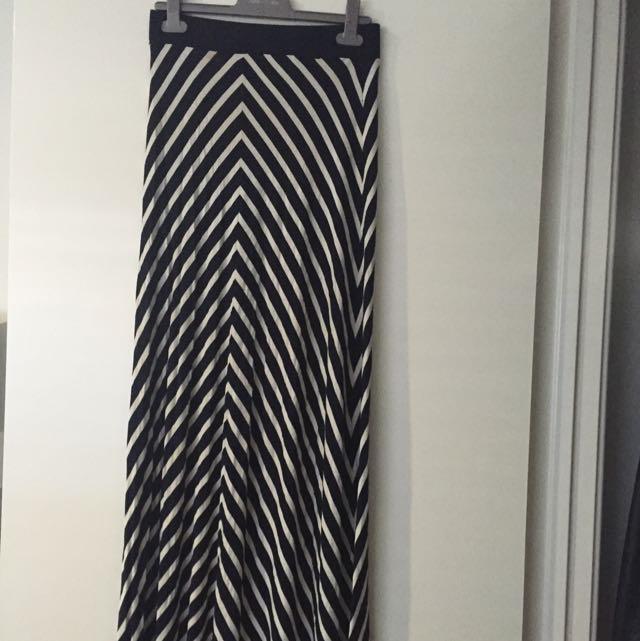 Forever New Stripe Maxi Skirt - Size 8