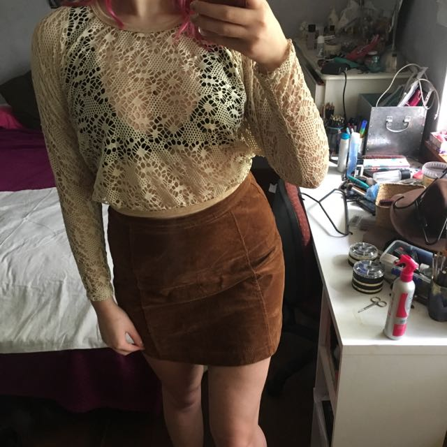 Lace See Through Crop Top Boho Gypsy