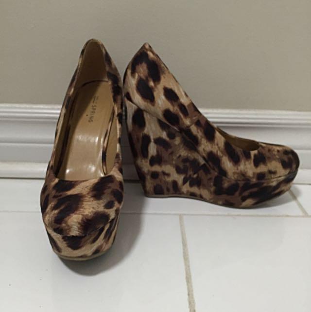 Leopard Print Wedge Heel Size 8