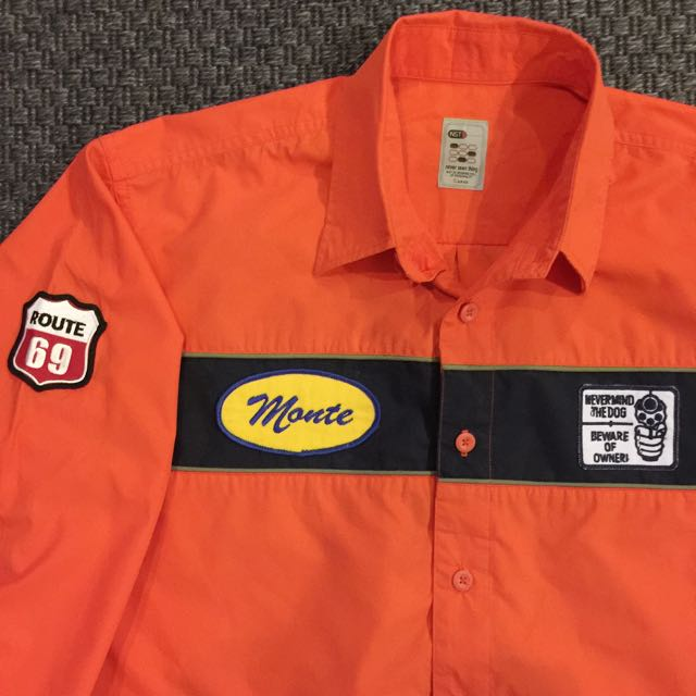 NEVER SEEN THING Vintage Orange Mechanic Shirt