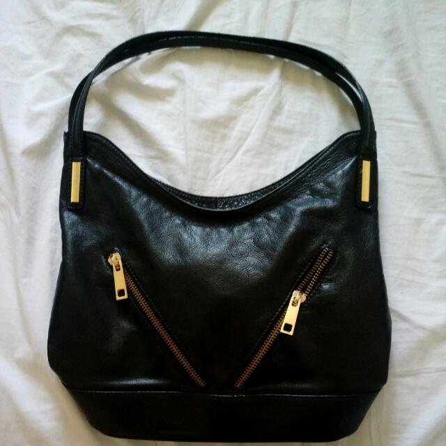 Renata Corsi Black Italian Leather Handbag