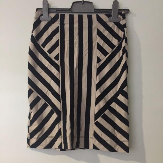 Sass Stripe Skirt - Size 8