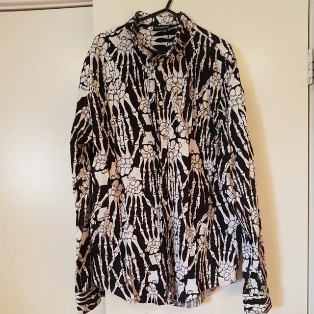 Skeleton Print Shirt XL