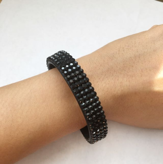 Swarovski Black Crystal Leather Bracelet