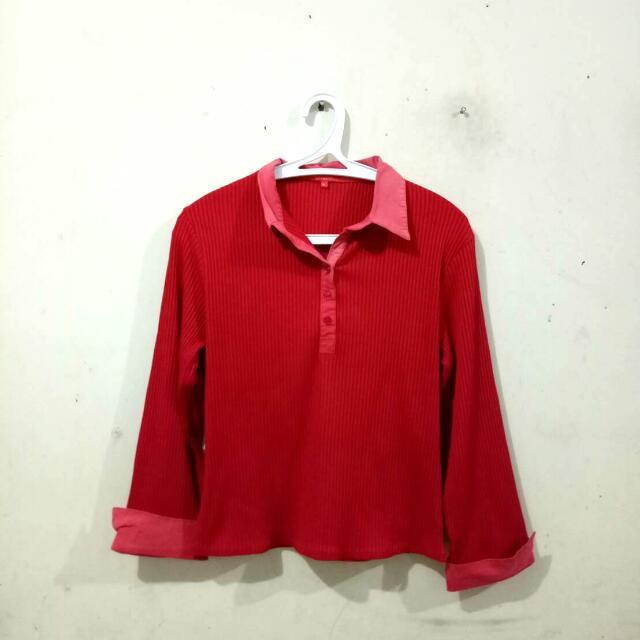 (REPRICED) Top/Atasan/Blouse Salur Merah (Red)