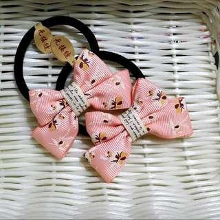 🎀卉琳手作🎀 花蝶粉橘 蝴蝶結髮束 兒童 舞會 萬聖節 聖誕節 跨年