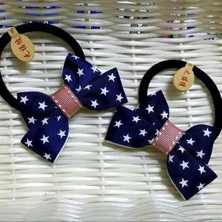 🎀卉琳手作🎀 星星藍 蝴蝶結髮束 兒童 舞會 萬聖節 聖誕節 跨年