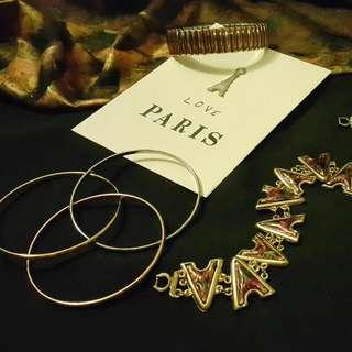 Various Gold Plated Bracelet