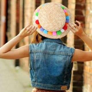 韓國東大門 毛毛球草帽 超夯的韓國流行帽 造型帽
