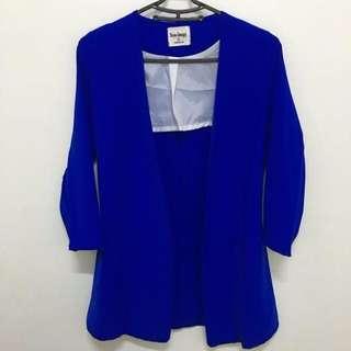 寶藍色顯瘦西裝式外套