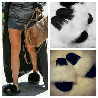 *TREND ALERT* White Fur Slides On Sell
