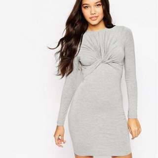 ASOS Knot Front Long Sleeve Dress