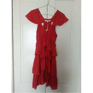 100% Silk Ruffled Dress BRAND NEW