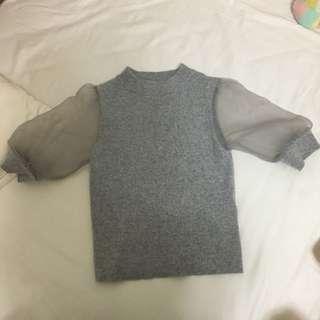 日本品牌Snidel袖子透膚灰色針織上衣