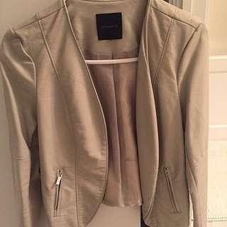Beige Leather Jacket Size M