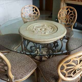 *Must Go* Ashley Floral Dining Set (dining table+6 chairs)