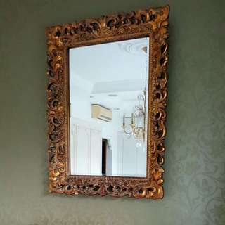 *Clearance* Gold Baroque Rectangular Mirror