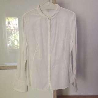 Lily White Rose Pattern Shirt
