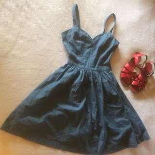 Modcloth Denim Blue Summer Dress XS