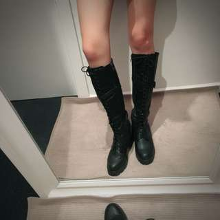 genuine leather high boots