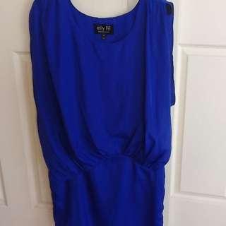 ELLY M Vivid Blue Satin Look Short Dress. Size 10