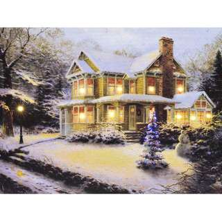 LED Colour Changing Canvas Wall Art - Lightbox (Christmas House)