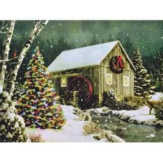 LED Colour Changing Canvas Wall Art - Lightbox (Christmas Lodge)
