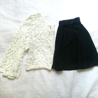 LACE Crop Top And Skirt, Terno