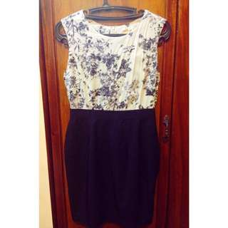 Office Dress Blue & White Floral