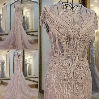 pre order grey mermaid bodycon  lace sleeveless wedding bridal gown photoshoot dinner prom dress
