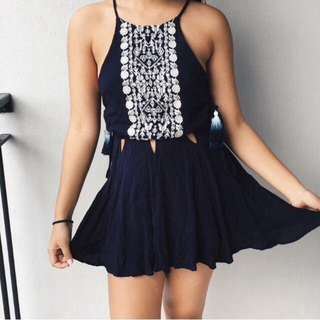 Navy Blue Tribal Summer Dress With Embroidery