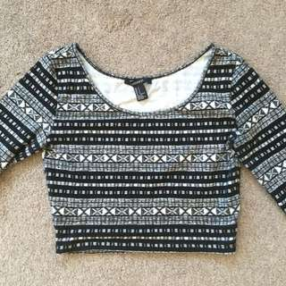 Forever 21 Black and White Aztec Long Sleeve Crop - Size 6