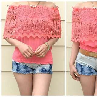 Size 6-10 Pink Lacey Offshoulder Top