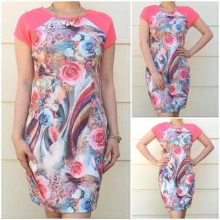 Size 8 Peach Floral Dress