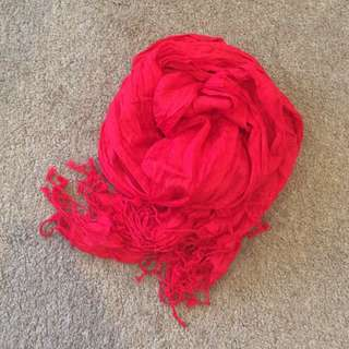 Basque Red Crinkle Scarf