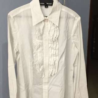 White Shirt With Short Ruffles MNG Size M