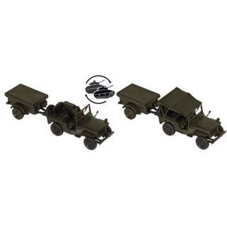 "[H0 1/87] Military - ""Willy's Jeep"" + M 100 US-Army [miniTank] NEW"
