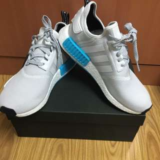 ADIDAS NMD JUNIOR US7 White/ Cyan