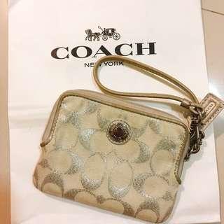 Coach 銀白色 手拿零錢包
