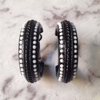 Black & white hoop earrings