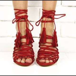 Windsor Smith Lace Up Red Heels