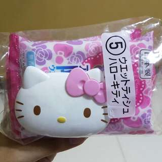 hello kitty reusable wet tissue cover with 2 packets of wet tissues