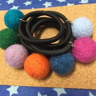 手做 羊毛氈 圓球 髮圈 多色 彩色