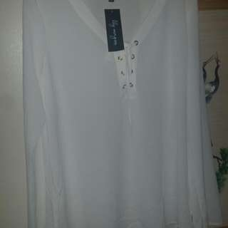 Bnwt Lily Morgan Dressy White Top With Lace Up Collar With Gold tone Button Holes