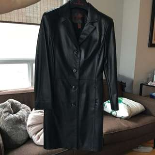 Danier Black Leather Trench - XS
