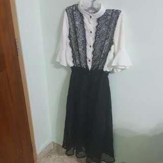 Button Down Midi Dress With Black Lace